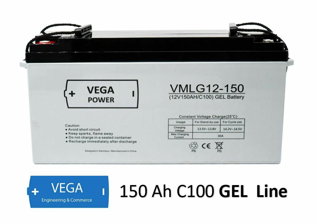 12V 150Ah C100 GEL Batterie Akku Vega Power