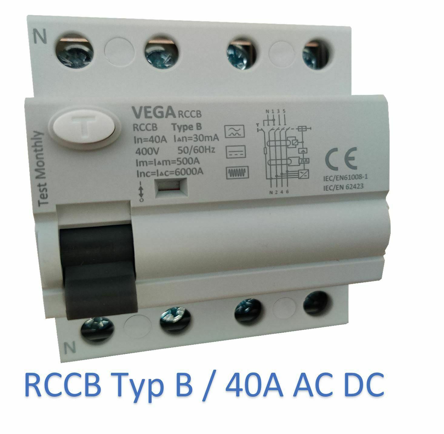 Vega RCCB FI Fehlerstromschutzschalter 40A 4-pol. Typ B Elektroauto PV Anlage