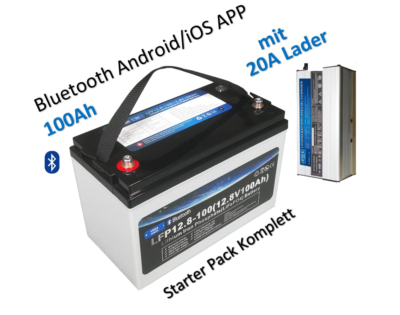 "12V-100Ah-LiFePO4-Lithium Eisen Phosphat-Akku-Wohnmobil-Wagen ""Starter Pack"""