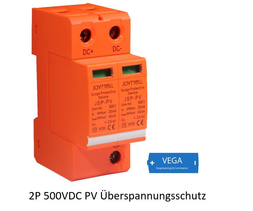 Blitz - Überspannungsschutz DC Photovoltaik PV 500V, Imax 40kA, 2 Pole, T2