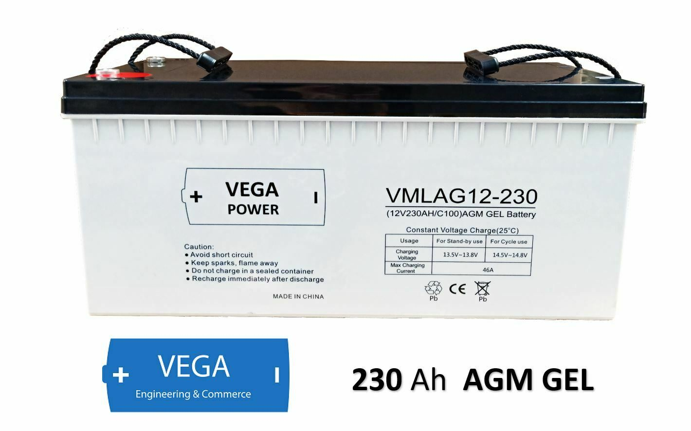 12V 230Ah C100 AGM GEL Batterie Akku Vega Power