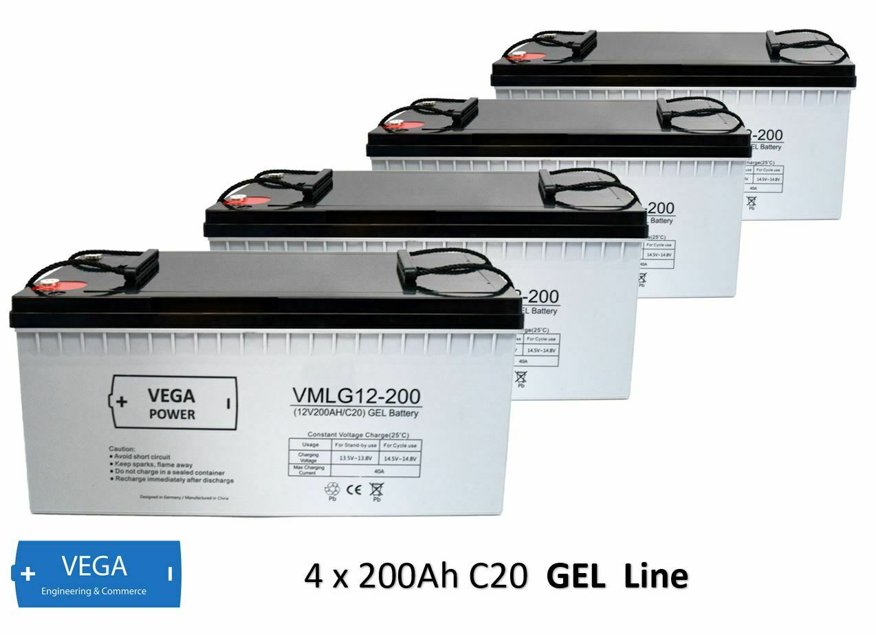 4 Stück 12V 200Ah C20 GEL Batterie Akku Vega Power
