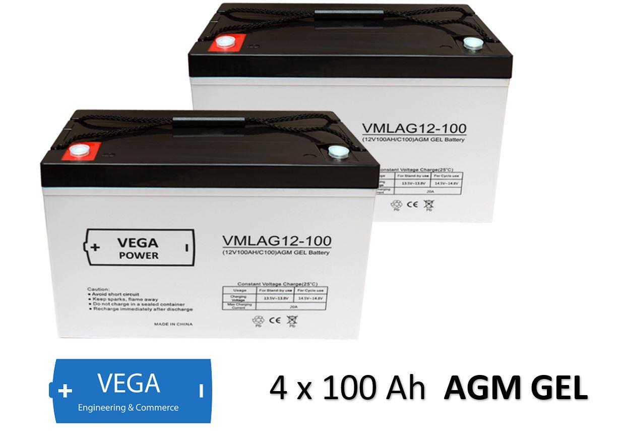 2 Stück 12V 100Ah AGM GEL Batterie Akku Vega Power