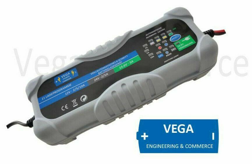 Vega Power Charger - 12 24V 10A 5A Batterieladegerät  Ladegerät GEL AGM  BLEI