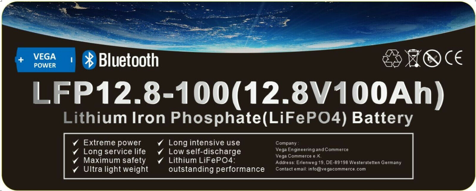12V-100Ah-LiFePO4-Lithium Eisen Phosphat-Akku-Wohnmobil-Wagen