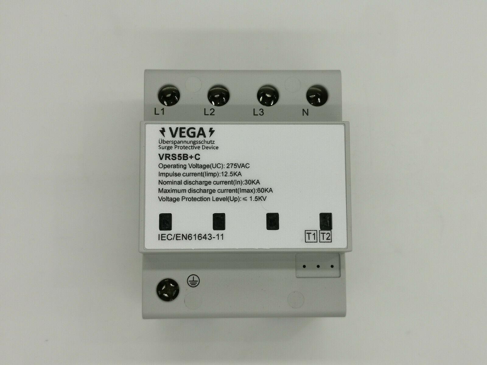 Blitz- Überspannungsschutz, Kombiableiter AC 4-polig, Imax 60 kA Imp 12,5kA, T1 T2