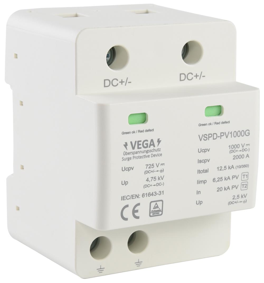 Überspannungsschutz Blitzschutz PV  / 1000V DC / Typ 1 & 2 /  Klasse B & C Kombi mit Gasableiter