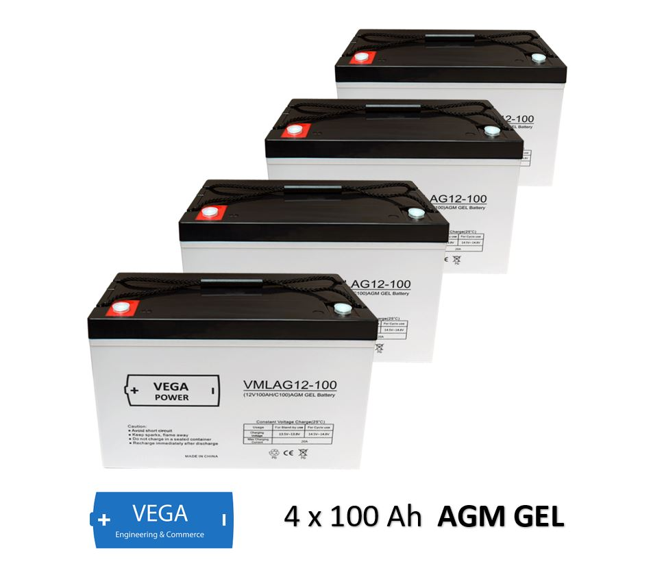 4 Stück 12V 100Ah AGM GEL Batterie Akku Vega Power