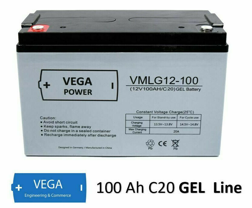 12V 100Ah C20 GEL Batterie Akku Vega Power